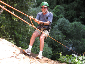 Lee Rappelling at Iguazu Falls