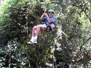 Lee on zipline at Iguazu Falls