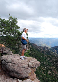 Travel Agent Guest at Balancing Rock in Mexico's Copper Canyon