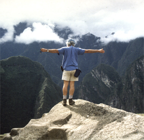 California Native founder, Lee Klein, overlooking the Urubamba Valley from the Inca Trail