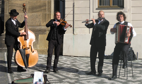Street musicians in Prague, Czech Republic.