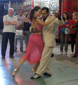 Street tango dancers in Buenos Aires.