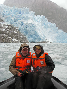 California Native scouts, Lee and Ellen Klein, enjoy glacier in Straits of Magellan