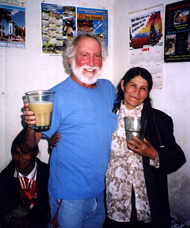 California Native founder, Lee Klein, chugging chicha with villagers in a Peruvian chicheria