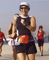 California Native scout, Ellen Klein, at Long Beach CA Marathon.