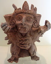 The artifact of a Mayan diety warns us of the Mayan 'Place of Fear' on The California Native Yucatan Tours