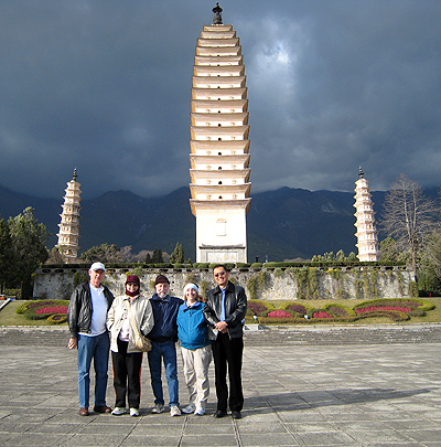 California Native's Lee & Ellen Klein standing in front of the Three Pagodas of Chongsheng Temple