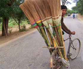 Myanmar Broom Vendor