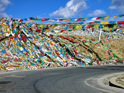Prayer flags along the Friendship Highway