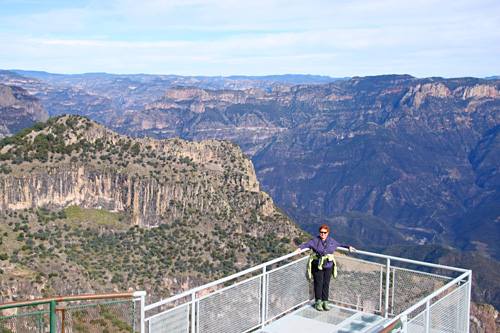Sandy Scott at an overlook in Copper Canyon. Photo by Harry Scott