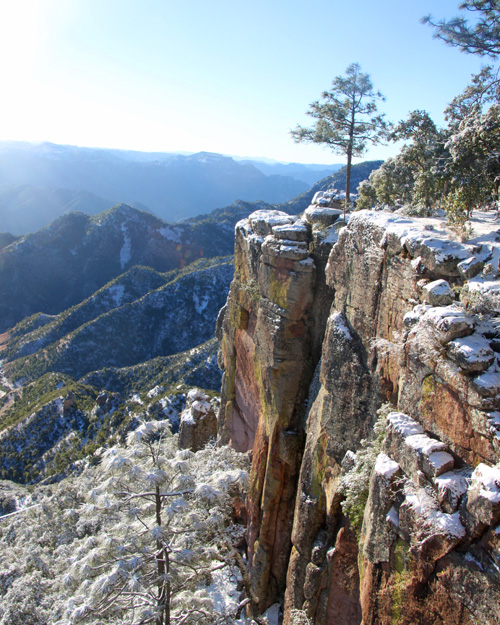 Snowy covered canyon in Copper Canyon. Photo by Harry Scott