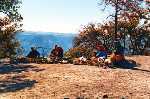 Tarahumara indians at an overlook