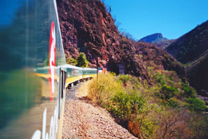 El Chepe train into the Copper Canyon