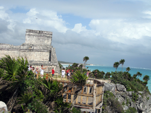 Side view of El Castillo (The Castle) and the Caribbean Sea.