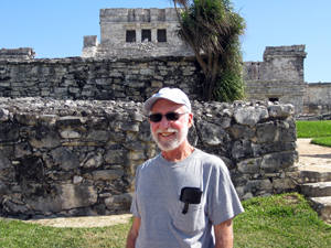 "Lee Klein standing by ""El Castillo"" (The Castle)"