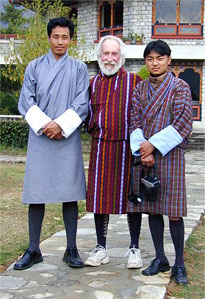 California Native founder Lee Klein with our driver and guide in traditional Bhutanese attire.