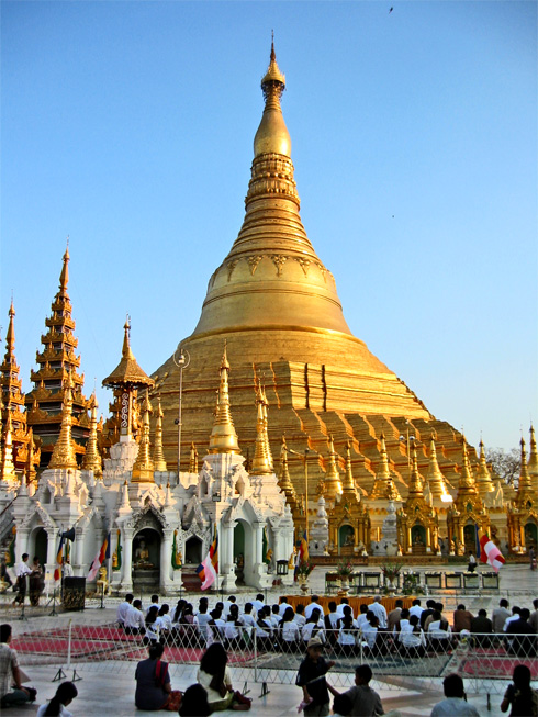 The Shwedagon Pagoda is the most sacred Buddhist site in Myanmar.