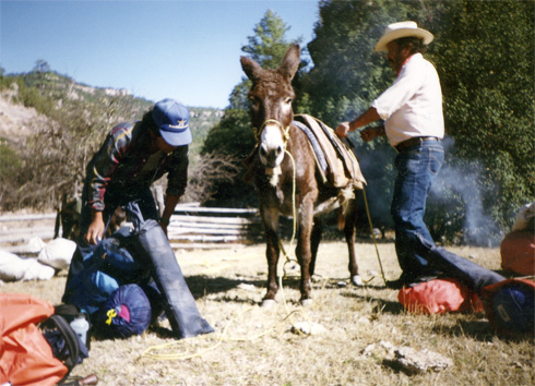 Loading up the burro for the day's journey.