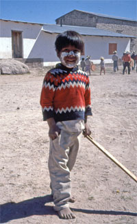 A young Tarahumara boy is all dressed up for Easter in Mexico's Copper Canyon