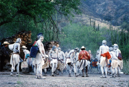 Tarahumara wear traditional makeup for the Easter celebrations in Copper Canyon.