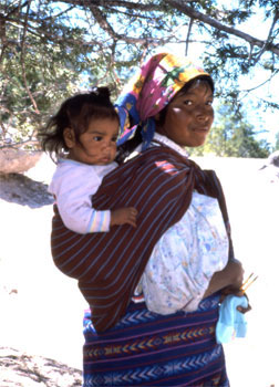 Tarahumara lady and baby in Mexico's Copper Canyon 