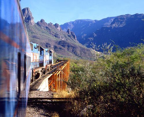 Riding the first class Chepe train through the Sierra Madres.