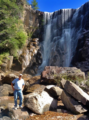 Larry Hanson enjoying the view at Cusarare Falls in Copper Canyon.