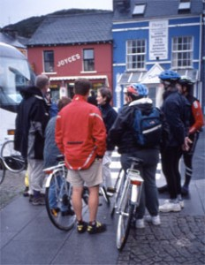 Cyclists meet for lunch in Irish Village