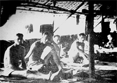 Allied war prisoners in barracks at Kanchanaburi, Thailand