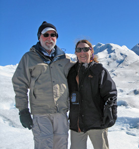 Lee and Ellen on Patagonia's Perito Moreno Glacier.
