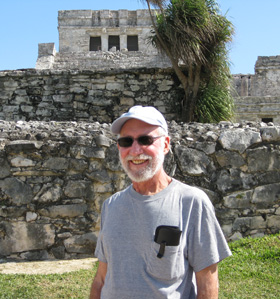Lee at a Mayan ruin in Mexico's Yucatan.