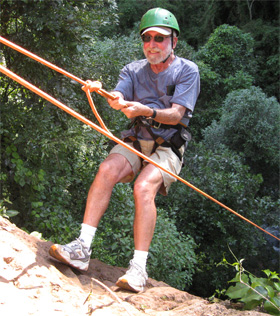 California Native founder, Lee Klein, rappelling in Argentina