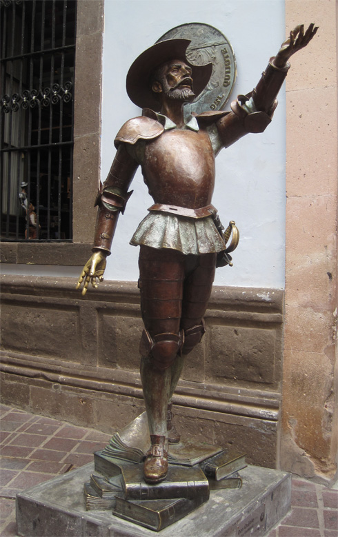 Don Quixote greets visitors at the Cervantes Museum in Guanajuato, Mexico.