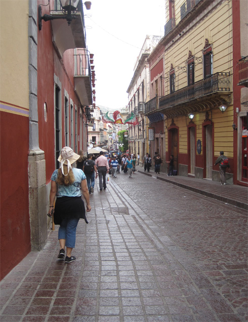 California Native&#039;s Ellen Klein strolls along the street in Guanajuato, Mexico.
