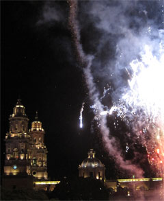 Fireworks over the cathedral in Morelia.