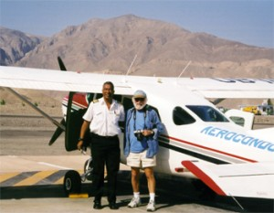 California Native founder, Lee Klein, and Peruvian pilot return from another flight over the ancient Nazca lines.