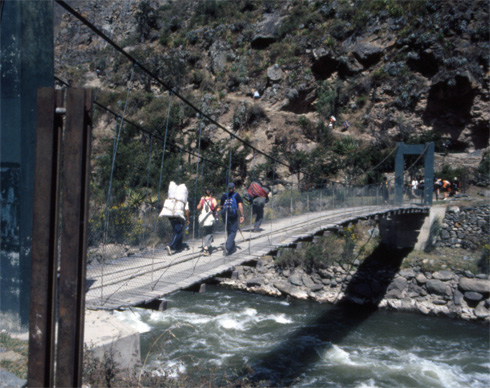Foot bridge over the Urubamba River is the start of the Inca Trail.