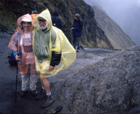 "Hikers run into a little rain at ""Dead Woman's Pass."""