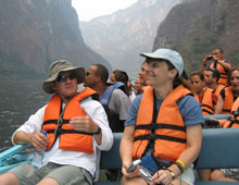California Natives enjoy boat trip through Mexico's Sumidero Canyon.