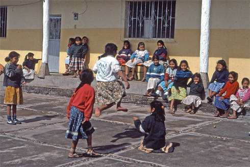 Young Tarahumara girls play at school in Mexico's Copper Canyon.