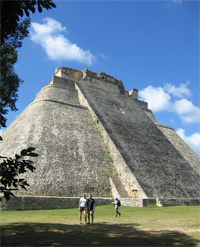 Pyramid of the Magician at the ruins of the Mayan city of Uxmal
