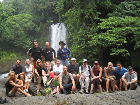 California Native's Lee Klein with group at waterfall in Los Tuxtlas.