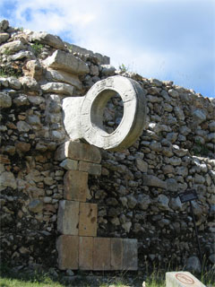 Stone vertical hoop in the ruins of a Mesoamerican ballfield.